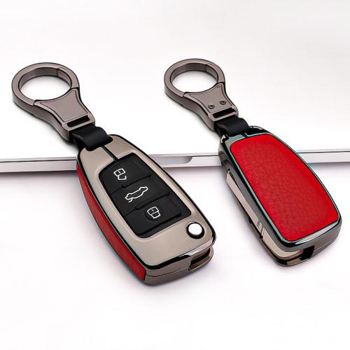 Aluminium, Leder Schlüssel Cover passend für Audi Schlüssel anthrazit/rot HEK15-AX3-31