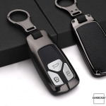 Aluminium, Leder Schlüssel Cover passend für Audi Schlüssel  HEK15-AX6