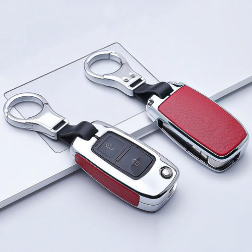 Aluminium, Leder Schlüssel Cover passend für Volkswagen, Skoda, Seat Schlüssel chrom/rot HEK15-V2-47