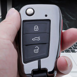 Alu Leder Schlüssel Cover für VW Skoda Seat V3 Kollektion-HEK15