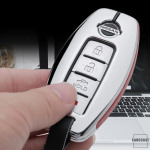 Aluminium, Leder Schlüssel Cover passend für Nissan Schlüssel chrom/rot HEK15-N5-47