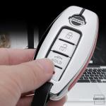 Aluminium, Leder Schlüssel Cover passend für Nissan Schlüssel chrom/schwarz HEK15-N5-29