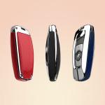 Aluminium, Leder Schlüssel Cover passend für BMW Schlüssel chrom/rot HEK15-B4-47