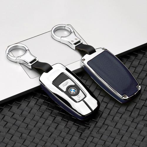 Aluminium, Leder Schlüssel Cover passend für BMW Schlüssel chrom/blau HEK15-B4-49