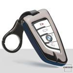 Aluminium, Leder Schlüssel Cover passend für BMW Schlüssel anthrazit/blau HEK15-B6-32