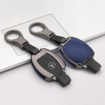 Aluminium, Leder Schlüssel Cover passend für Mercedes-Benz Schlüssel anthrazit/blau HEK15-M7-32