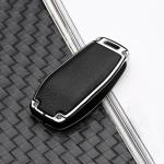 Aluminium, Leder Schlüssel Cover passend für Mercedes-Benz Schlüssel chrom/schwarz HEK15-M9-29