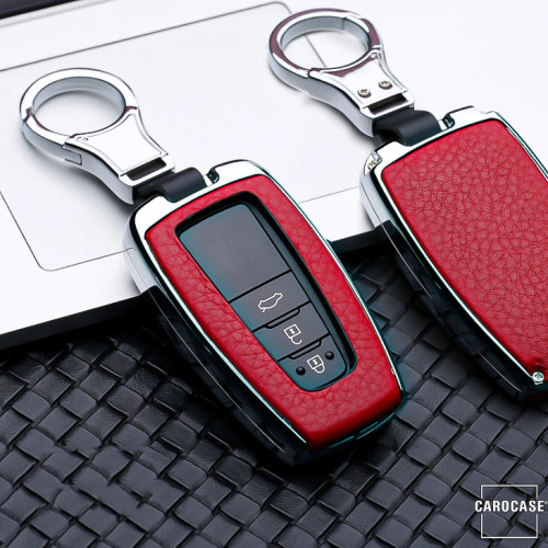 Aluminium, Leder Schlüssel Cover passend für Toyota Schlüssel chrom/rot HEK15-T5-47