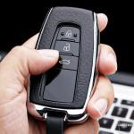 Aluminium, Leder Schlüssel Cover passend für Toyota Schlüssel anthrazit/schwarz HEK15-T5-51