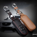 Leather key case/cover incl. keychain for Mazda remote key