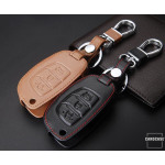 Leather key case/cover incl. keychain for Hyundai remote key