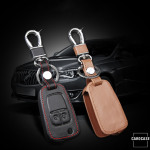 Leather key case/cover incl. keychain for Opel remote key