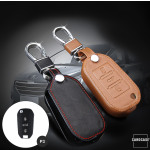 Leather key case/cover incl. keychain for Opel, Citroen,...