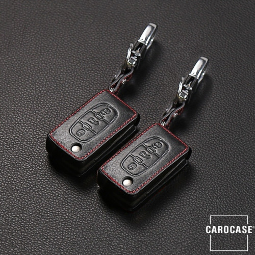 Leder Schlüssel Cover passend für Citroen, Peugeot, Fiat Schlüssel PX2 schwarz