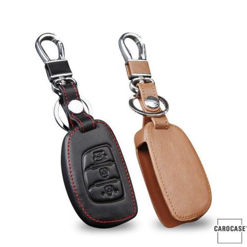 Leder Schlüssel Cover passend für Hyundai Schlüssel D2 schwarz