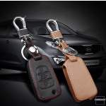 Leather key case/cover incl. keychain for Hyundai, Kia...