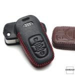 Leder Schlüssel Cover passend für Audi Schlüssel AX4 schwarz/schwarz