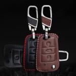 Leder Schlüssel Cover mit Ziernahnt passend für...