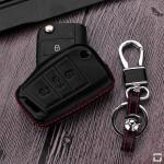 Leder Cover Volkswagen, Skoda, Seat schwarz LEK48-V3