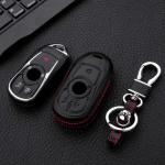 Leder Hartschalen Cover passend für Opel Schlüssel schwarz LEK48-OP16-1