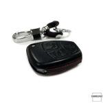 Leder Hartschalen Cover passend für Mercedes-Benz Schlüssel schwarz LEK48-M4