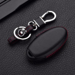 Leder Hartschalen Cover passend für Nissan Schlüssel schwarz LEK48-N8