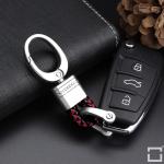 Mini Schlüsselanhänger Lederband mit Karabiner chrom/schwarz-rot SAR2-62