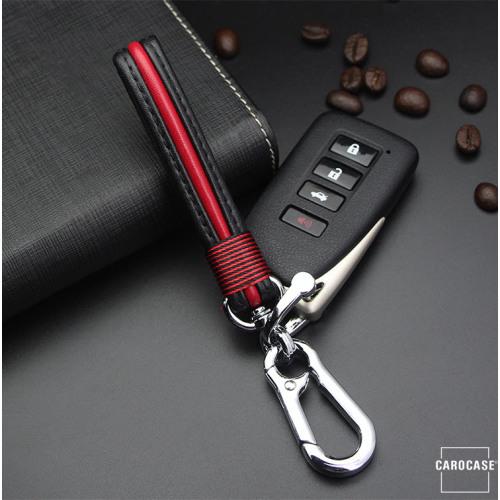 Schlüsselanhänger Lederband chrom/rot SAR4-47