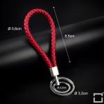 Schlüsselanhänger Lederband inkl. Schlüsselringe SAR8 chrom/rot