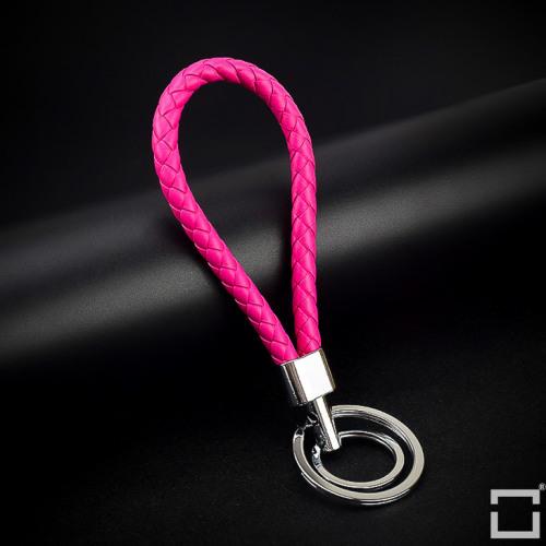 Schlüsselanhänger Lederband inkl. Schlüsselringe SAR8 chrom/rosa