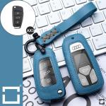 Leder Schlüssel Cover inkl. Lederband & Karabiner passend für Audi Schlüssel  LEK53-AX3
