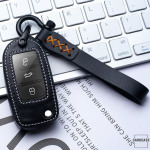 Leder Schlüssel Cover inkl. Lederband & Karabiner passend für Volkswagen, Skoda, Seat Schlüssel  LEK53-V2