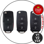 Leder Cover inkl. Lederrband & Karabiner für VW Schlüssel LEK53-V2