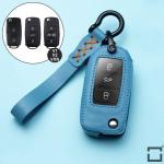 Leder Schlüssel Cover inkl. Lederband & Karabiner passend für Volkswagen, Skoda, Seat Schlüssel blau LEK53-V2-4