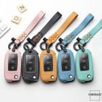 Leder Schlüssel Cover inkl. Lederband & Karabiner passend für Volkswagen, Skoda, Seat Schlüssel  LEK53-V2X