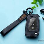 Leder Cover inkl. Lederrband & Karabiner für VW Schlüssel LEK53-V3