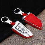 Aluminium, Alcantara Schlüssel Cover passend für BMW Schlüssel chrom/rot HEK31-B6-47