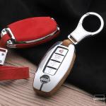 Aluminium, Alcantara Schlüssel Cover passend für Nissan Schlüssel  HEK31-N5