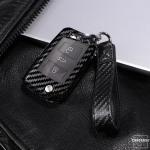 Carbon-Look Cover passend für Volkswagen, Audi, Skoda, Seat Schlüssel schwarz HEK21-V3-1