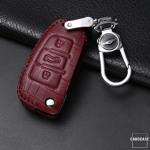 KROKO Leder Schlüssel Cover passend für Audi Schlüssel  LEK44-AX3