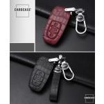 KROKO Leder Schlüssel Cover passend für Audi Schlüssel schwarz/schwarz LEK44-AX2