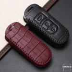 KROKO Leder Schlüssel Cover passend für Mazda Schlüssel schwarz/rot LEK44-MZ1