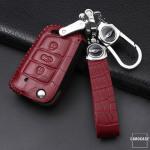 KROKO Leder Cover passend für Volkswagen, Audi, Skoda, Seat Schlüssel -LEK44-V3