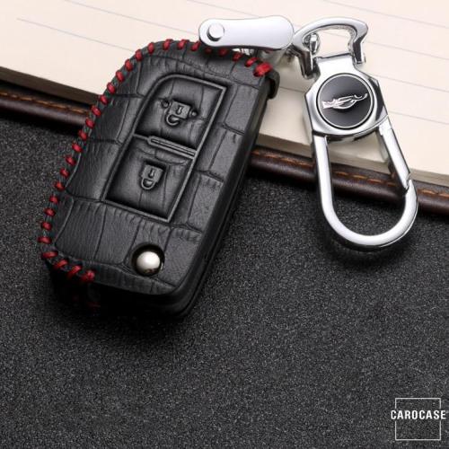 KROKO Leder Schlüssel Cover passend für Nissan Schlüssel schwarz/rot LEK44-N1