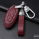 KROKO Leder Schlüssel Cover passend für Nissan Schlüssel  LEK44-N5