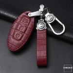 KROKO Leder Schlüssel Cover passend für Nissan Schlüssel  LEK44-N6