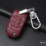 KROKO Leder Schlüssel Cover passend für Honda Schlüssel schwarz/rot LEK44-H9