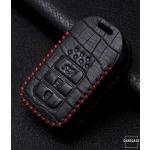 KROKO Leder Schlüssel Cover passend für Honda Schlüssel schwarz/rot LEK44-H12
