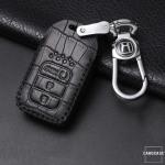 KROKO Leder Schlüssel Cover passend für Honda Schlüssel schwarz/schwarz LEK44-H14