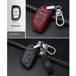 KROKO Leder Schlüssel Cover passend für Hyundai Schlüssel weinrot LEK44-D1